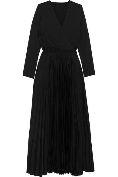 Vanessa Bruno - Helie Pleated Satin Wrap-effect Midi Dress - Black