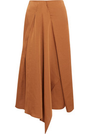 Hilaria draped satin midi skirt