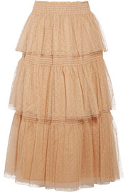Tiered flocked tulle midi skirt