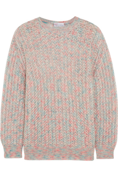 Cloud Mohair-blend Sweater - Blue Red Valentino Sale The Cheapest Clearance Really Cheap Choice Free Shipping Latest eqATJR