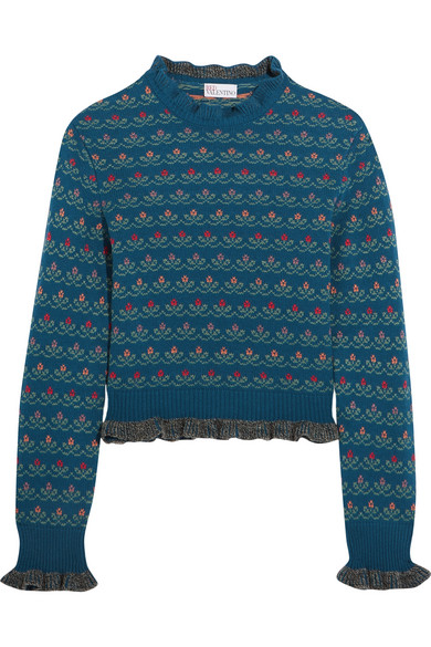 REDValentino - Ruffled Floral-intarsia Wool-blend Sweater - Blue
