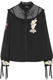 REDValentino Embroidered point d'esprit-paneled appliqued chiffon blouse