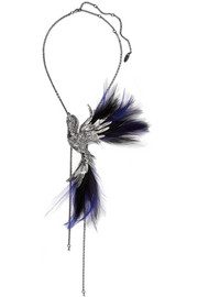 Lanvin Antiqued silver-tone, crystal and feather necklace