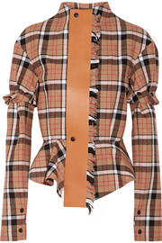 Loewe Leather-trimmed checked wool-blend peplum jacket