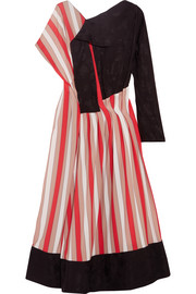 Paneled striped crepe and jacquard midi dress