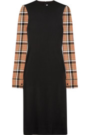 Loewe Checked wool blend-paneled stretch-satin midi dress