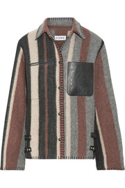 Loewe Leather-trimmed striped wool-blend jacket