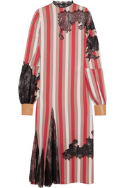 Loewe Lace and leather-trimmed striped satin midi dress