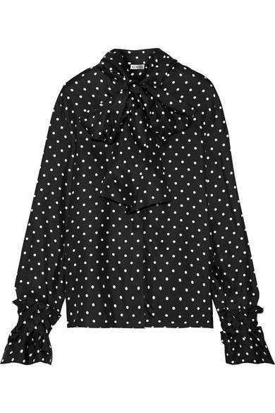 Loewe - Pussy-bow Polka-dot Silk-satin Twill Blouse - Black