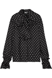 Pussy-bow polka-dot silk-twill blouse