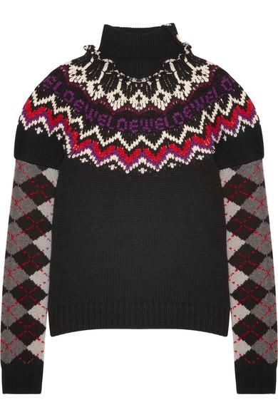 Loewe - Intarsia Wool, Silk And Cashmere-blend Turtleneck Sweater - Black