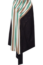 Loewe Asymmetric satin-jacquard and striped stretch-jersey midi skirt