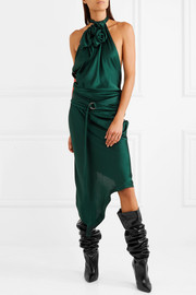 Saint Laurent Asymmetric satin halterneck midi dress