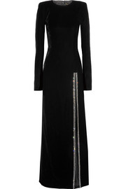 Saint Laurent Kristallverzierte Robe aus Stretch-Samt