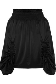 Saint Laurent Off-the-shoulder smocked silk-satin top