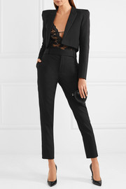 Saint Laurent Cropped satin-trimmed wool-gabardine blazer