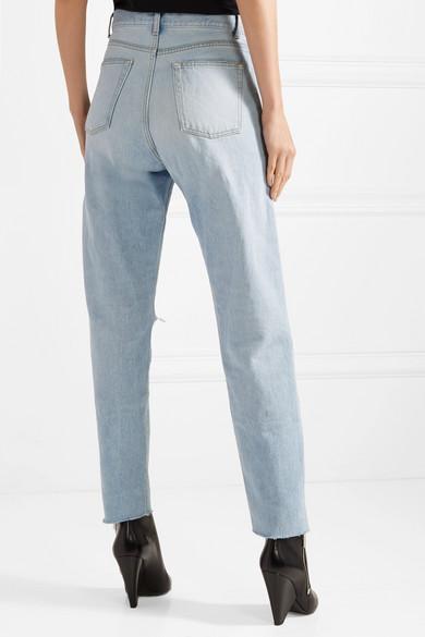 Saint Laurent Hoch sitzende Jeans mit geradem Bein in Distressed-Optik