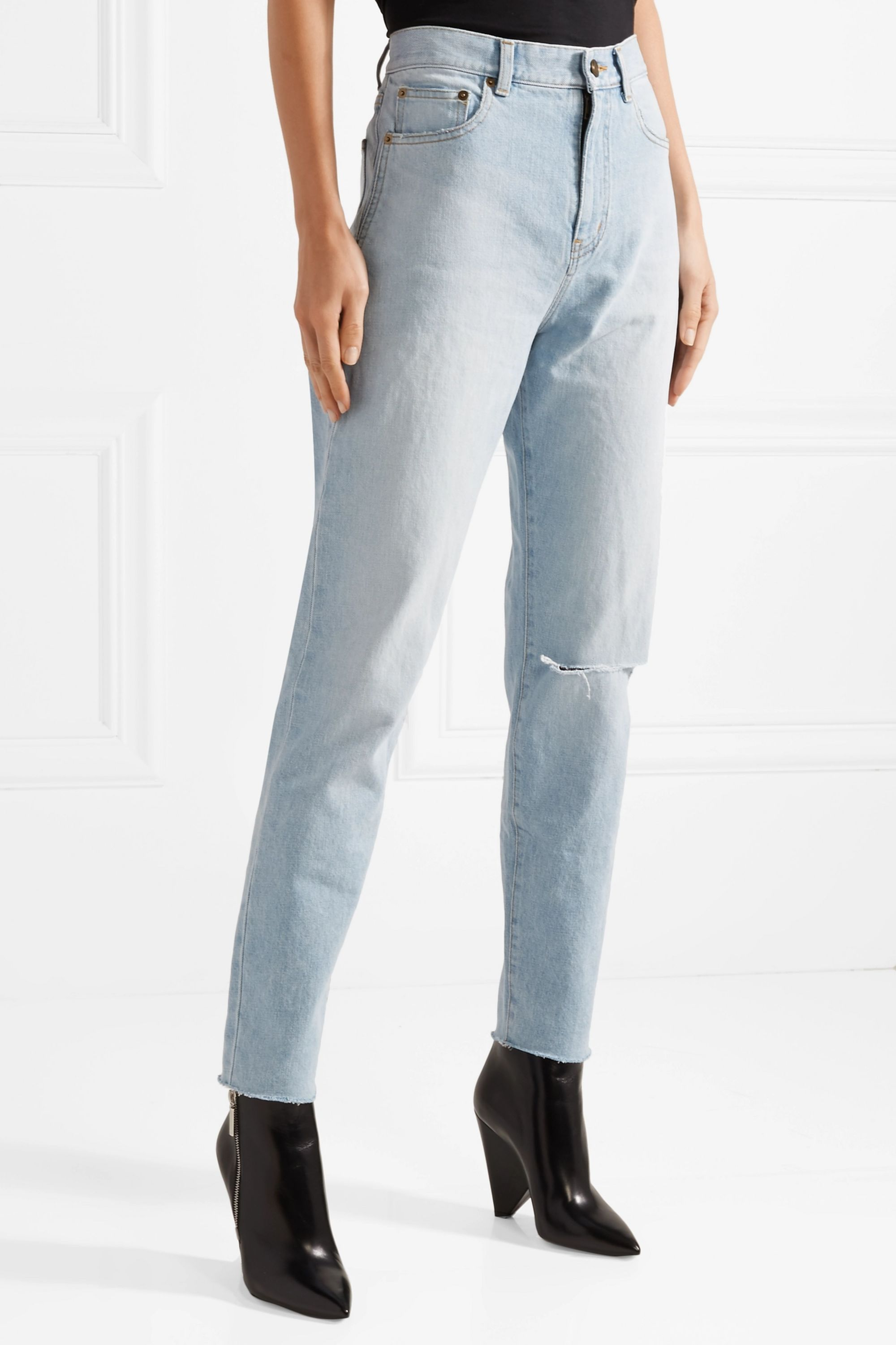 SAINT LAURENT Distressed high-rise straight-leg jeans
