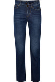 Saint Laurent Embroidered high-rise slim-leg jeans