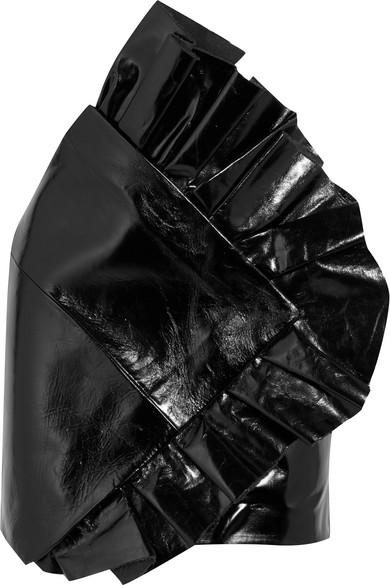 SAINT LAURENT Ruffled glossed textured-leather mini skirt