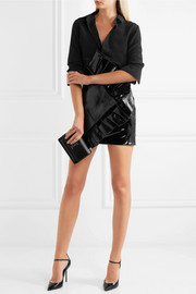 Saint Laurent Ruffled glossed textured-leather mini skirt