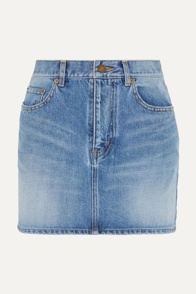 Saint Laurent - Embroidered Denim Mini Skirt - Mid denim