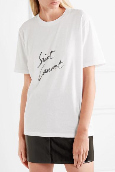 Saint laurent printed cotton jersey t shirt net a for Saint laurent t shirt