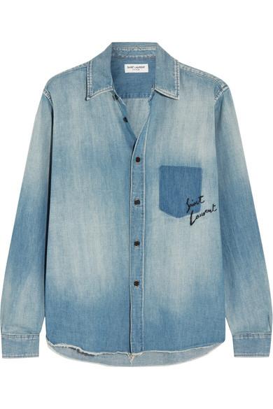 Saint Laurent - Oversized Embroidered Denim Shirt - Mid denim