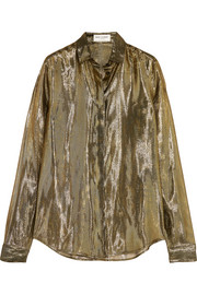 Saint Laurent Metallic silk-blend lamé shirt