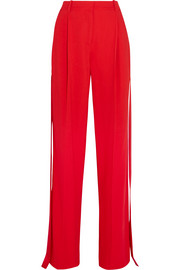 Givenchy Satin-trimmed pleated cady pants