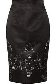 Givenchy Printed duchesse-satin skirt