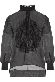 Givenchy Lace-appliquéd silk-chiffon blouse