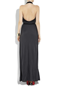 FendiHalterneck satin-crepe gown