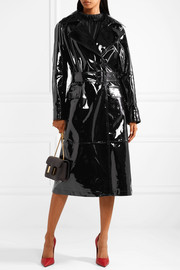 Patent-leather trench coat