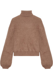 Cropped silk-blend turtleneck sweater