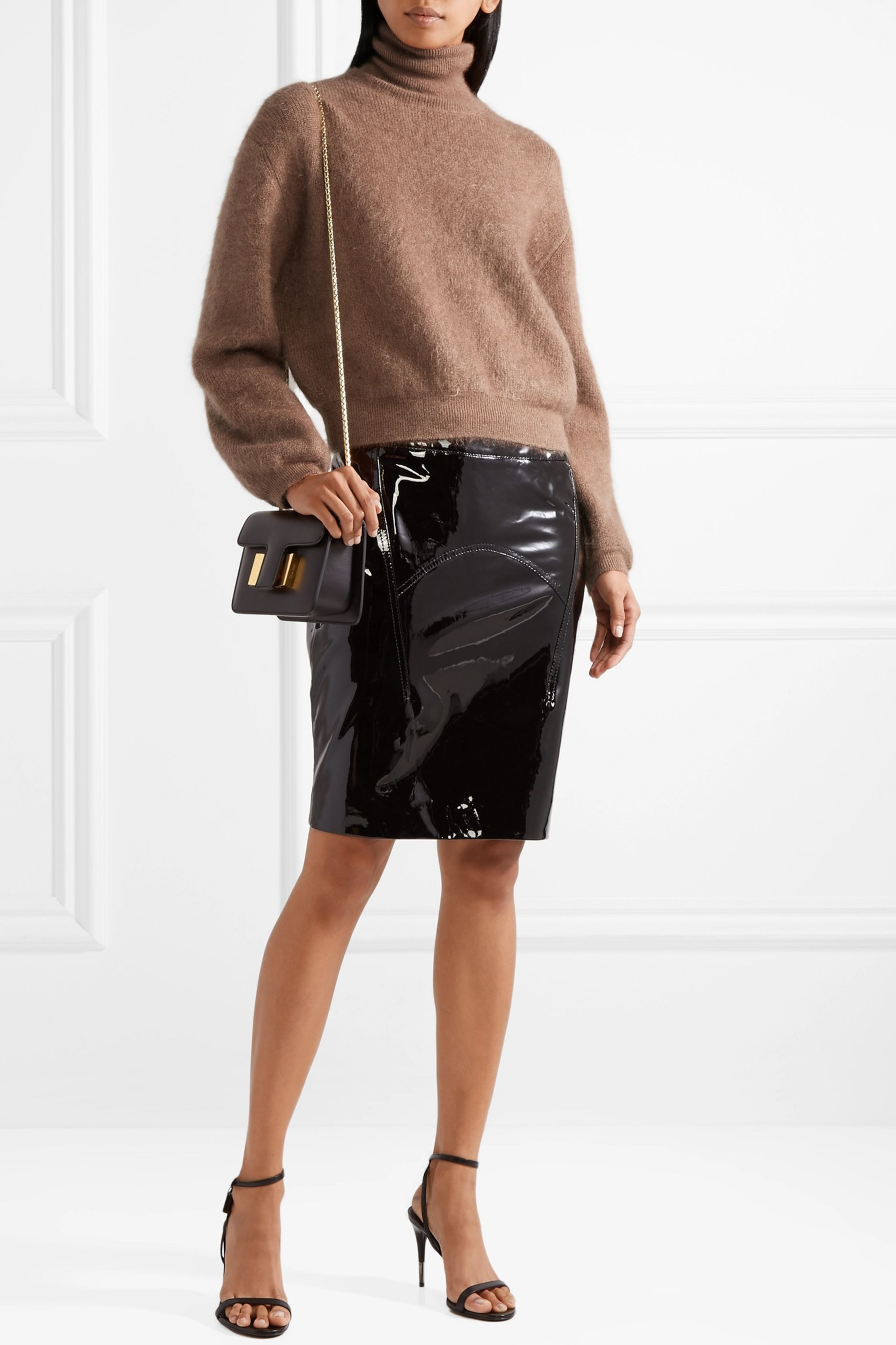 TOM FORD Cropped silk-blend turtleneck sweater