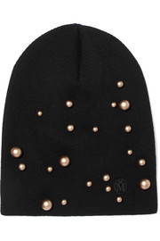 Elvis embellished ribbed wool beanie