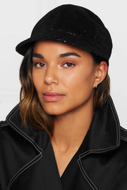 Warren sequined velvet cap