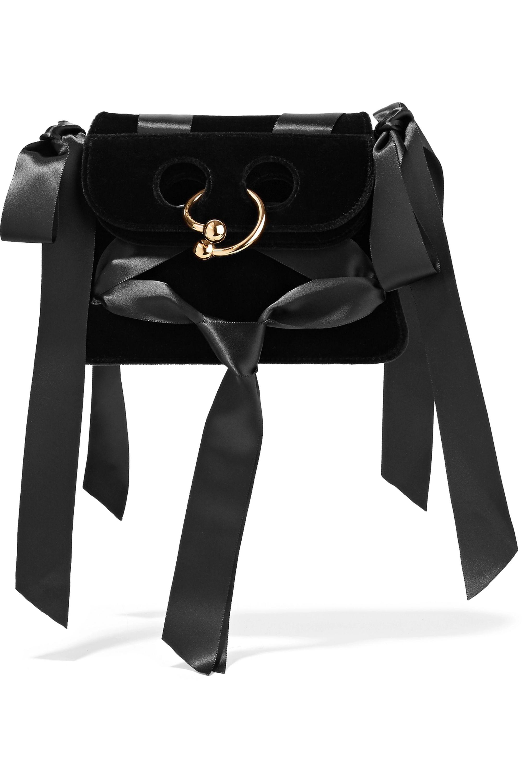 JW Anderson Pierce mini leather and satin-trimmed velvet shoulder bag