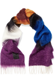 Fringed mohair and wool-blend scarf