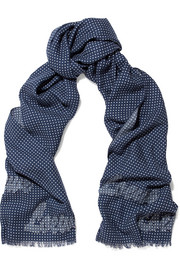 Appliquéd polka-dot wool and silk-blend scarf
