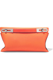 Missy small textured-leather clutch