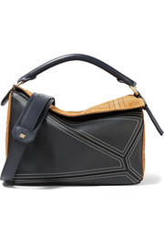 Loewe Puzzle medium checked suede and leather shoulder bag