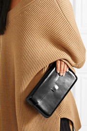 Smooth and patent-leather clutch