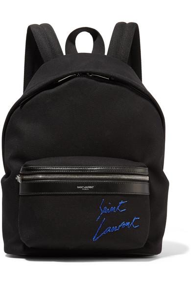 Saint Laurent Bestickter Rucksack aus Canvas mit Lederbesätzen
