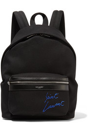 Saint Laurent Leather-trimmed embroidered canvas backpack
