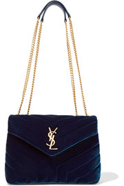 Saint Laurent Loulou small quilted velvet shoulder bag