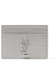 Croc-effect leather cardholder