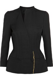 Asymmetric embroidered wool peplum jacket