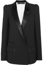Satin and velvet-trimmed wool-crepe blazer